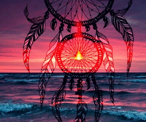 art, ocean, and sunset image
