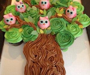 cake, owl, and tree image
