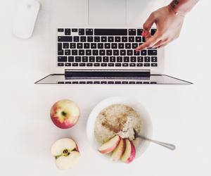apple, breakfast, and desk image