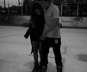 black and white, couple, and hold me image