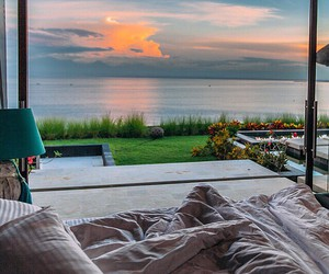 bedroom, nature, and sunset image