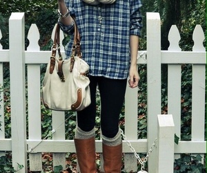 fashion, boots, and flannel image