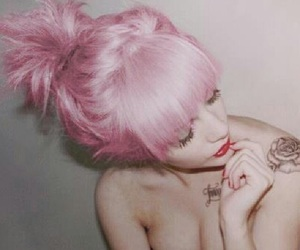 hair, pink, and tattoo image