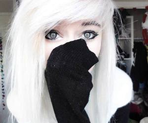hair, white, and emo image