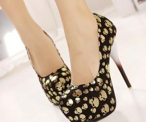 skull, black, and heels image