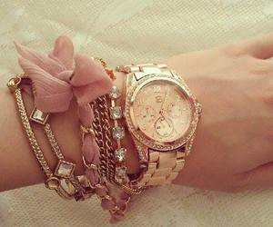 watch, bracelet, and gold image