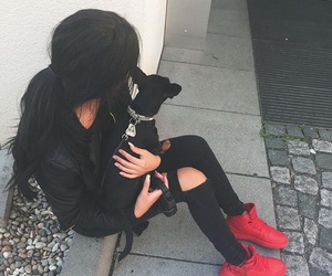 black, dog, and red image