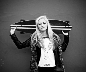 girl, longboard, and photo image