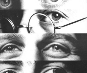 the beatles, eyes, and george harrison image