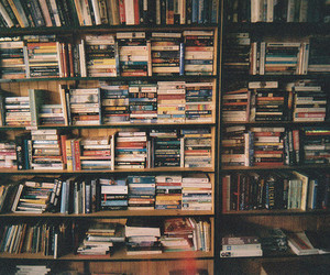 books, shelf, and shelves image
