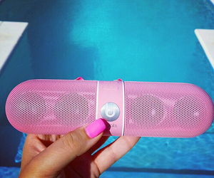 pink, beats, and pool image