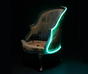 chair, neon, and vintage image