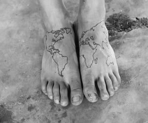 tattoo, feet, and map image