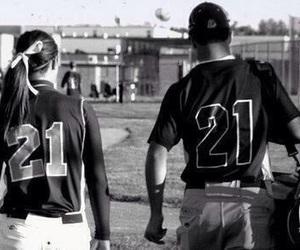 baseball, couple, and softball image
