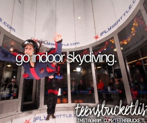 skydiving, bucket list, and indoor skydiving image