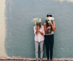 girl, flowers, and best friends image