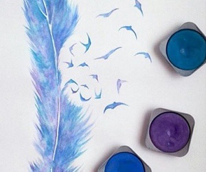 blue, birds, and drawing image
