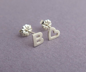 minimalist, silver studs, and heart earrings image