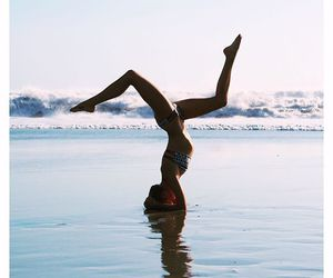girl, beach, and yoga image