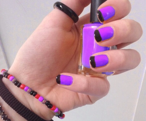 black, purple, and nails image