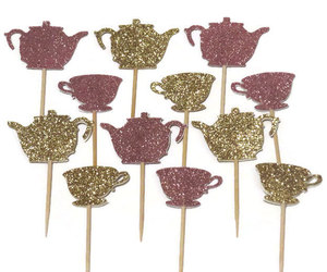tea party, cupcake toppers, and tea kettles image