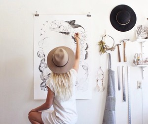 art, hat, and blonde image