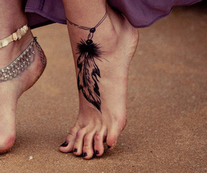 ankle, bracelet, and tattoo image