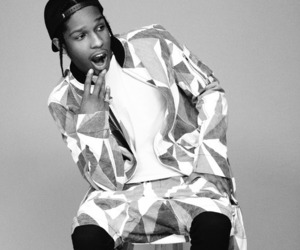 asap rocky, asap, and black and white image