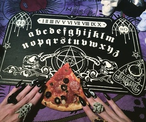 pizza, ouija, and black image