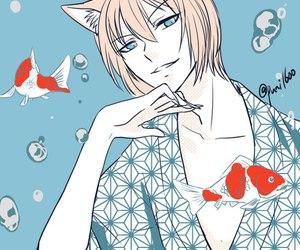 koi, yokai, and white fox image