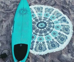 beach, blue, and surf image