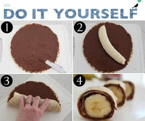 pancake, banana, and nutella image