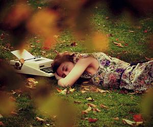 girl, sleep, and typewriter image