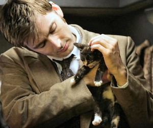 david tennant, doctor who, and cat image