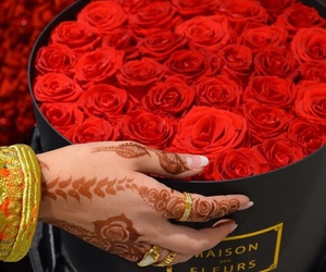 flowers, henna, and rose image