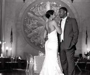 black and white, bride, and groom image