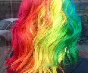 hair, rainbow, and green image