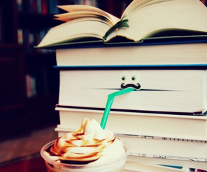 book, starbucks, and funny image