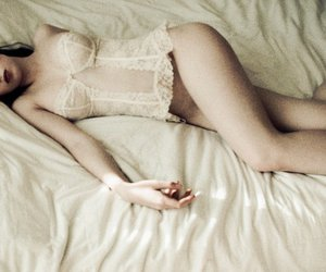girl, bed, and lingerie image