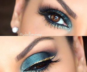 blue, makeup, and gold image