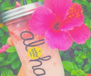 Aloha, drink, and flowers image