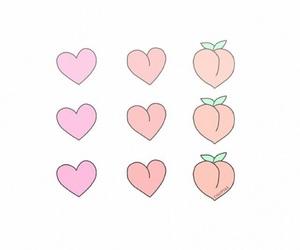 hearts, emojis, and peach image