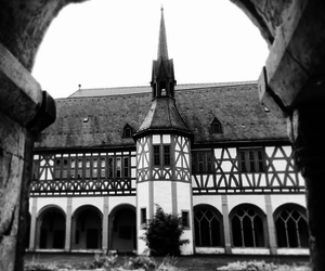 black and white, germany, and building image