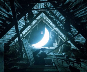 moon, night, and attic image