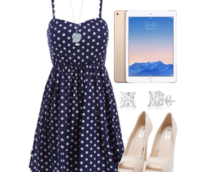 blue dress, earrings, and outfit image