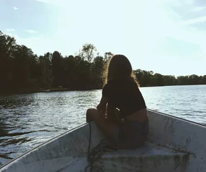 girl, boat, and water image