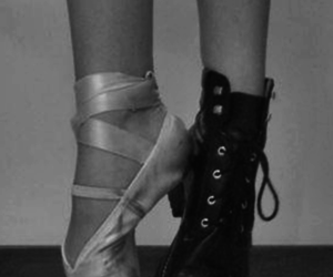 ballet, boots, and black and white image