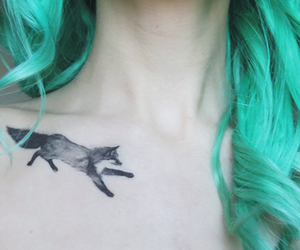 tattoo, fox, and hair image
