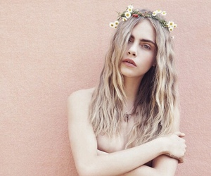 model, cara delevingne, and flowers image