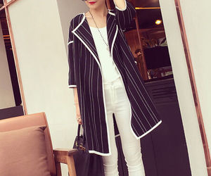 vertical stripes, contrast color, and cardigan coat image